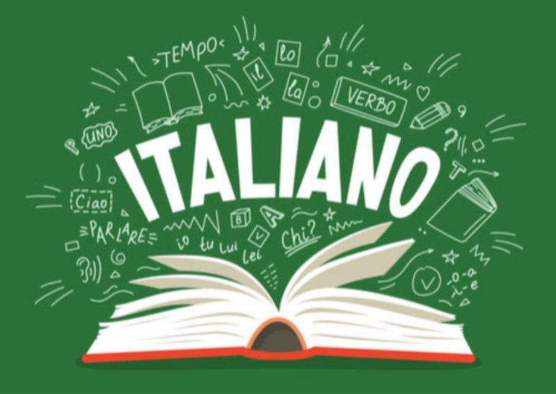 Open book with a lot of word useful to learn Italian