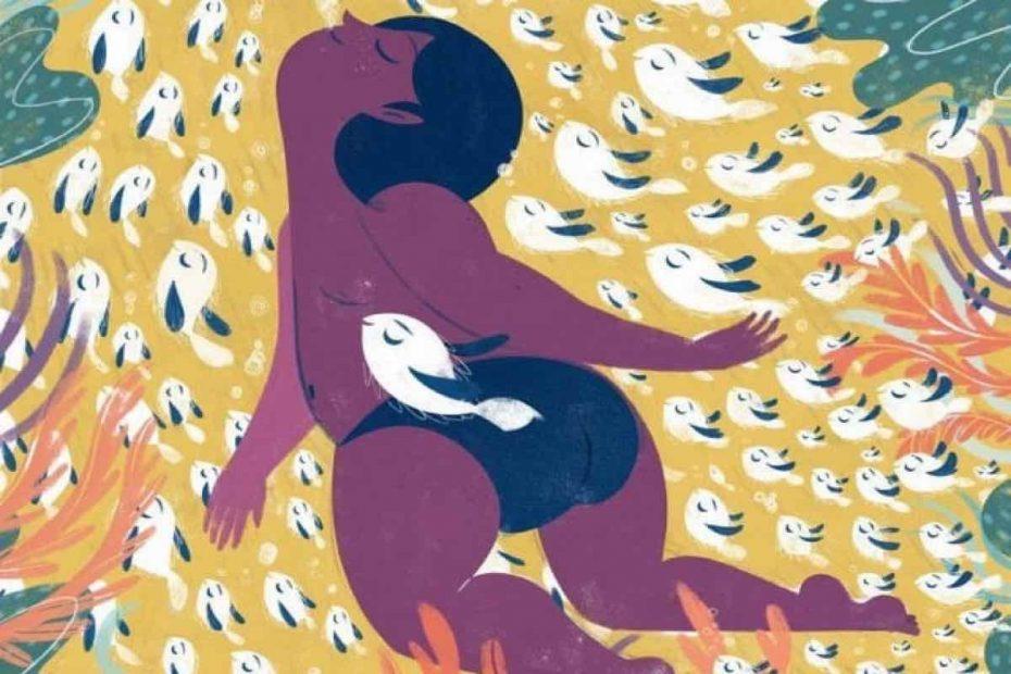 Illustrazione di Colapesce che nuota insieme a un banco di pesci